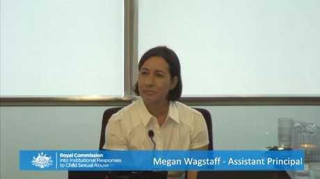 Former deputy principal Megan Wagstaff provides evidence at the Royal Commission hearing in Brisbane.
