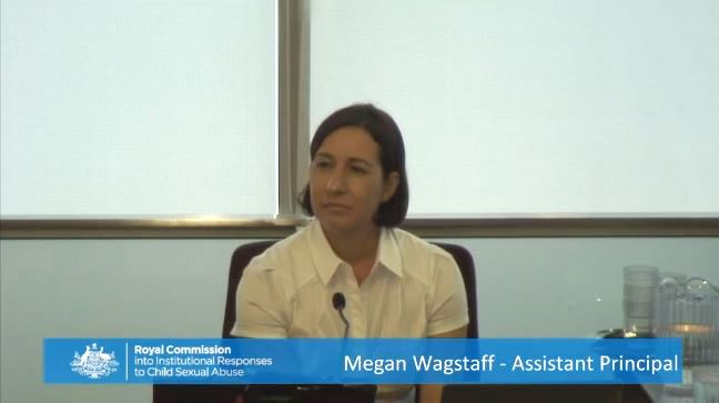 Former deputy principal Megan Wagstaff provides evidence at the Royal Commission hearing in Brisbane.