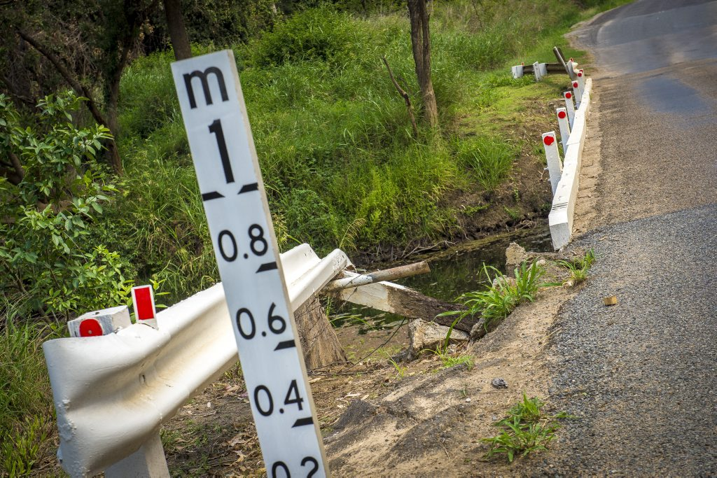 A much-needed bypass on the Gladstone-Monto Road is a hot topic in the Boyne Valley. Pictured: Damage to infrastructure along Gladstone-Monto Road, near Ubobo.