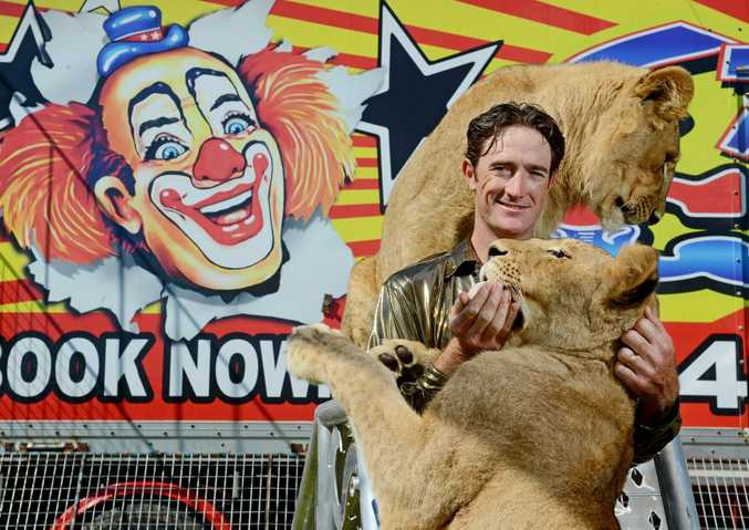 Lion Trainer and Clown, Matt Ezekial from Stardust Circus. Pictured getting ready for their upcoming Lismore shows. Photo Patrick Gorbunovs / The Northern Star