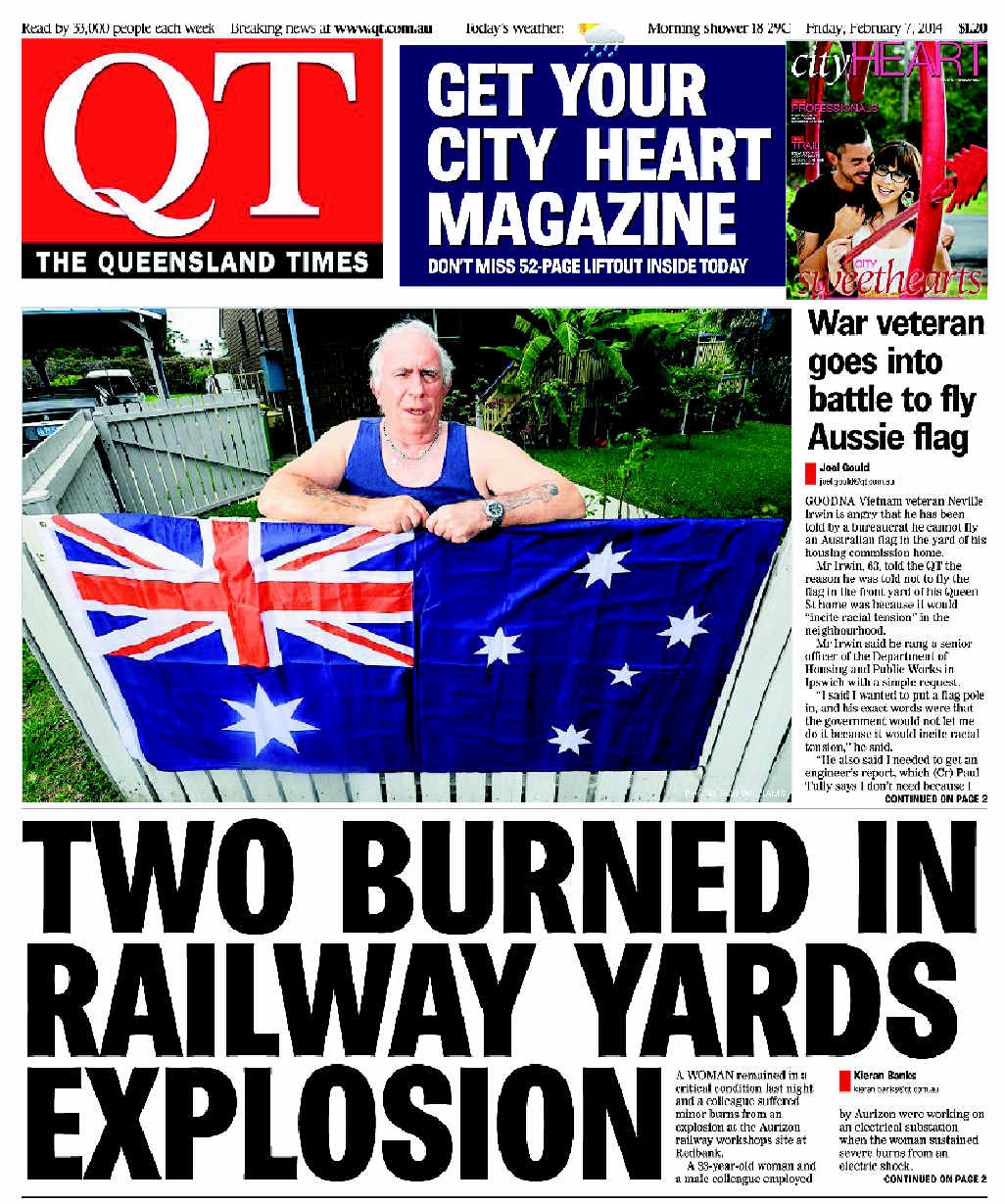 The front page of the QT on February 7, 2014.