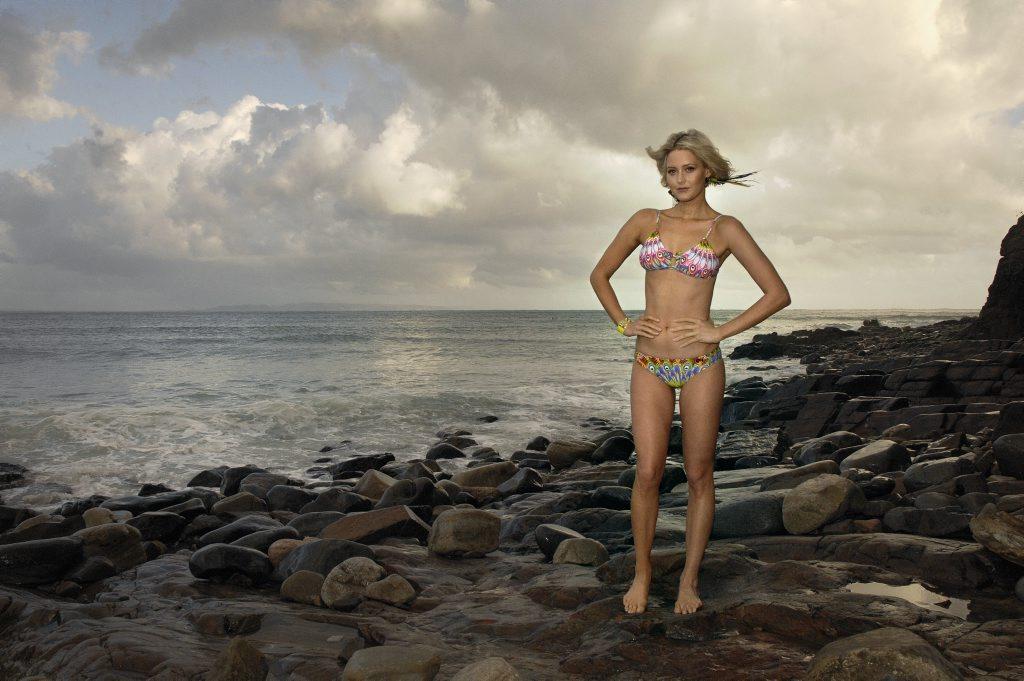 Former Miss Universe Australia Kimberley Busteed in Hive Swimwear 'Birds of Noosa' print.
