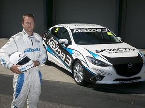 Goalsneak Nathan Brown is race ready in a Mazda3