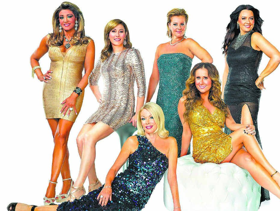 THE GIRL WHO LEFT GYMPIE: The Real Housewives of Melbourne (back, from left) Gina Liano, Andrea Moss, Chyka Keebaugh and Lydia Schiavello, and (front) Janet Roach, left, and Jackie Gillies.