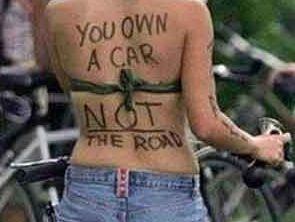 The meme that has prompted a safety warning for cyclists in the Toowoomba area.