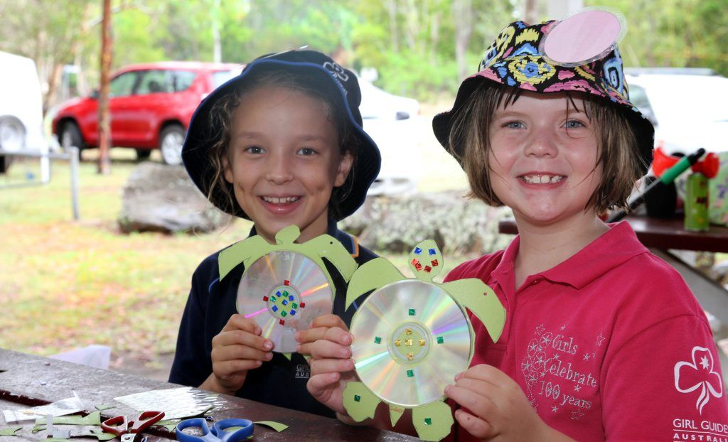 TURTLE CAMP: Mikayla Monteonerie and Isabella Norval from Girl Guides having fun doing turtle craft as a part of turtle awareness camp at Mon Repos. Photo: Zach Hogg / NewsMail