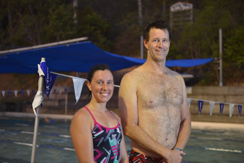 Jayne Hoffman and Richard Furness are looking forward to hitting the water for the Gladstone Gropers Masters Annual Swim Meet. Photo Jake Jones / The Observer