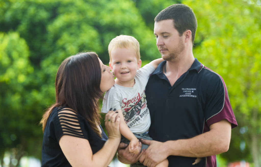 LIVING FOR MIRACLES: Melissa Burley and Nathan Really with son Mason Really. PHOTO: ADAM HOURIGAN