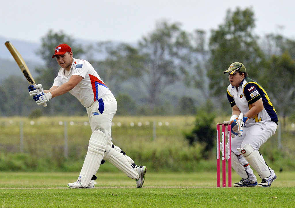 THUNDER DENIED: A Swifts batsman looks to chip the ball away during Saturday's drawn first division match against Thunder at Ivor Marsden Sporting Complex. Thunder were denied their first win of the season.