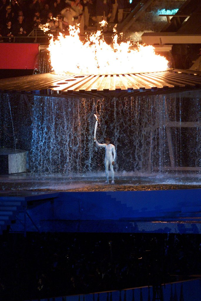 Cathy Freeman in that immortal moment at the opening ceremony of the Sydney Olympics Games in 2000. Were the Sydney Games Australia's last Olympic hurrah?