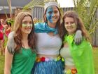 Good friends, Lisa Porritt (left), Imara de Waal, and Courtney McLean at Alstonville's Trinity Participation carnival. Photo Richard Forbes / The Northern Star