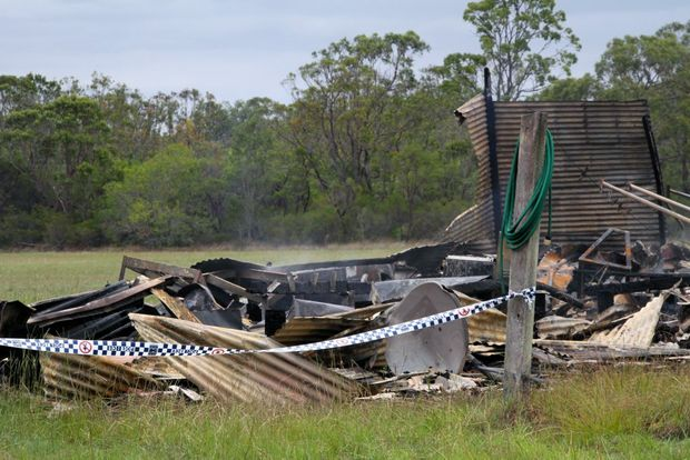 FATAL FIRE: The Queensland Fire and Emergency Services was called to the Bundaberg Gliding Club, where a caravan fire claimed a life. Photo: Zach Hogg / NewsMail