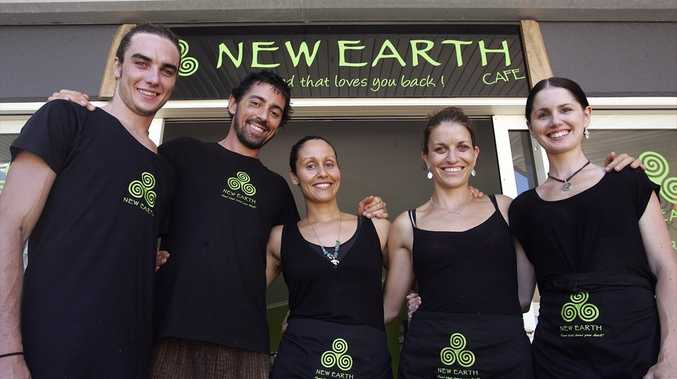 New Earth Cafe staff Isaac Robinson, Ben and Sarah Parsons (owners), Kellie Newport and Kate Gadenne.