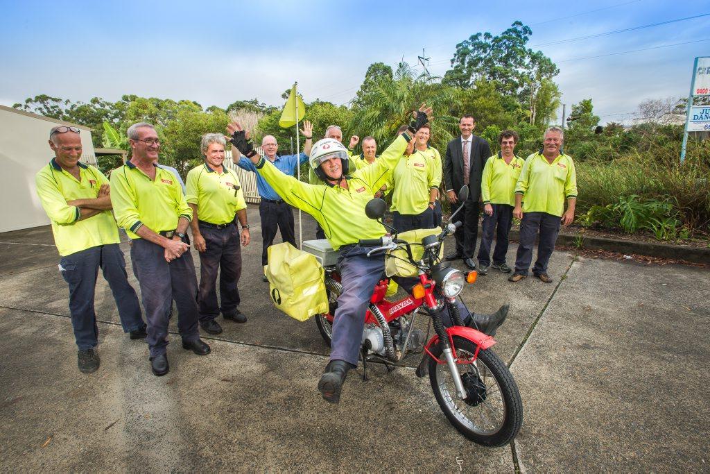 Australia post employee 50 yrs employment. Brian Jones at Coffs Depot. PHOTO: TREVOR VEALE / COFFS COAST ADVOCATE