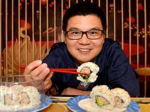 Japanese chef on board sushi train