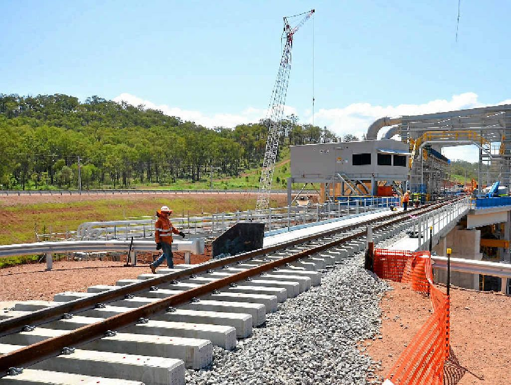 The completed rail line now runs through the rail receival structure.