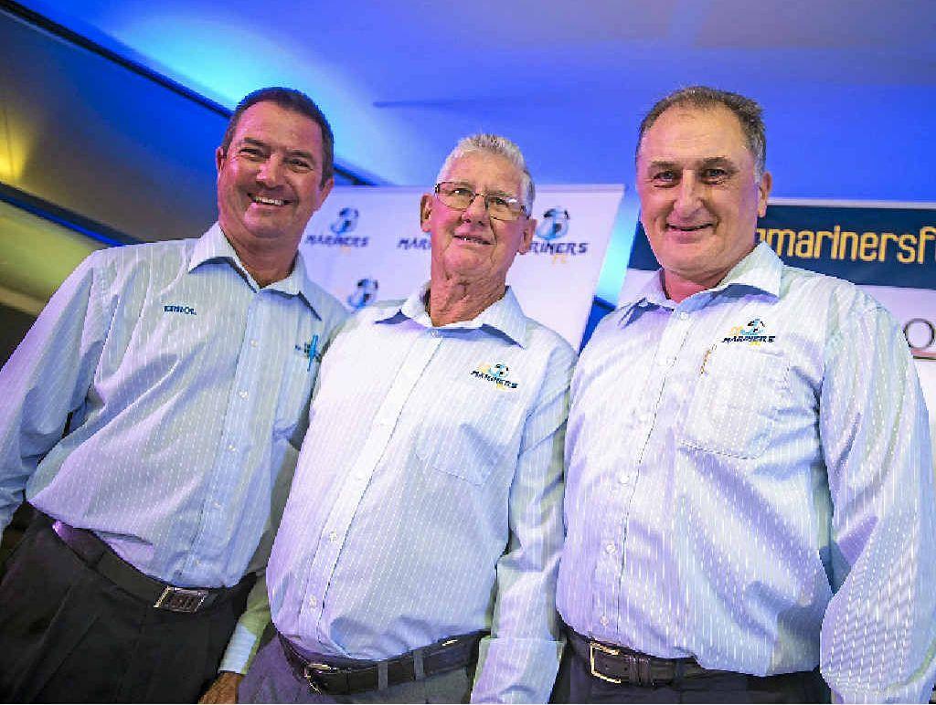 Errol Roots, Joe Fenech and Brian Niven at the CQ Mariners launch at Gladstone Hyundai.