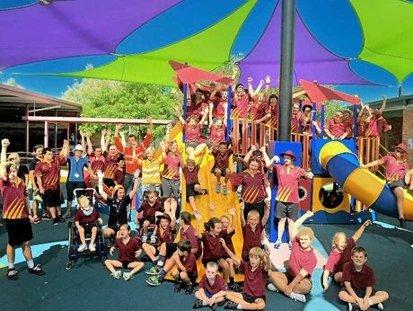 WE LOVE IT: Rosella Park School welcomed the generous donation of a $20 000 shade sail from Theiss Engineering.