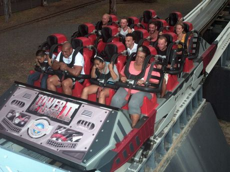 Alex Leapai faces his greatest fear by riding Dreamworld's Tower of Terror.