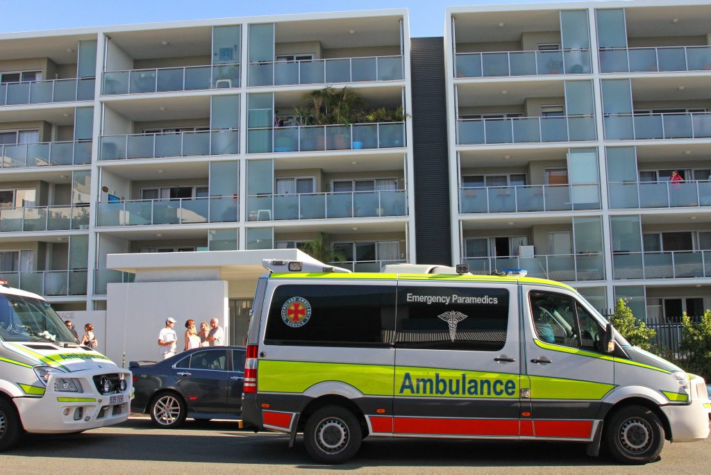 A man has fallen to his death from a six-storey building in Caloundra.