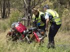 Scenes of Crime officer inspects fatal motorcycle crash , O'Leary Road and Pratten-Ryeford Road. Photo Nev Madsen / The Chronicle