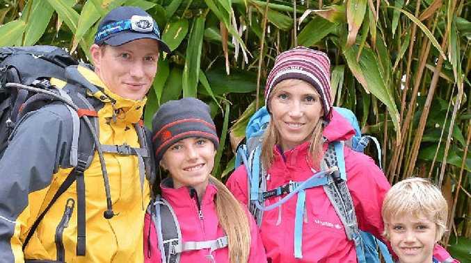 TREK FOR FINN: Adrian Mula, Jody Russell and their children Mayah and Riley Kanigowski.