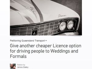 "Car owners campaign for new ""wedding and formal"" licence"