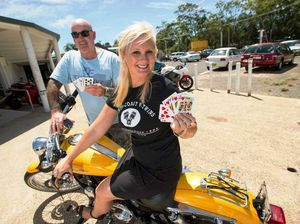 Motorcyclists are wild in this game of poker