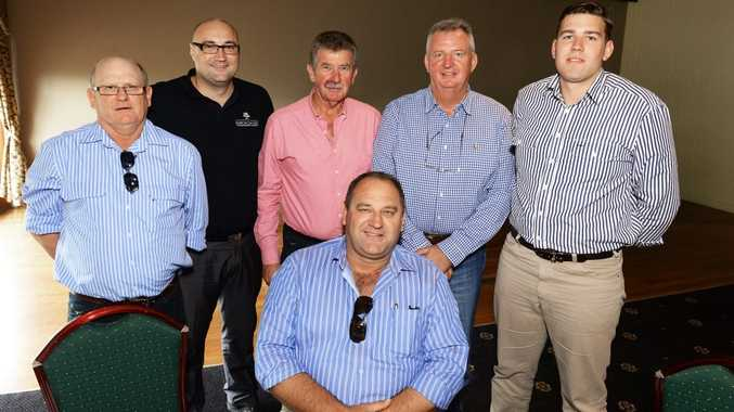 HANDY CREW: The crew from NuGrow at the Swich On Inc charity lunch at the Ipswich Club yesterday.
