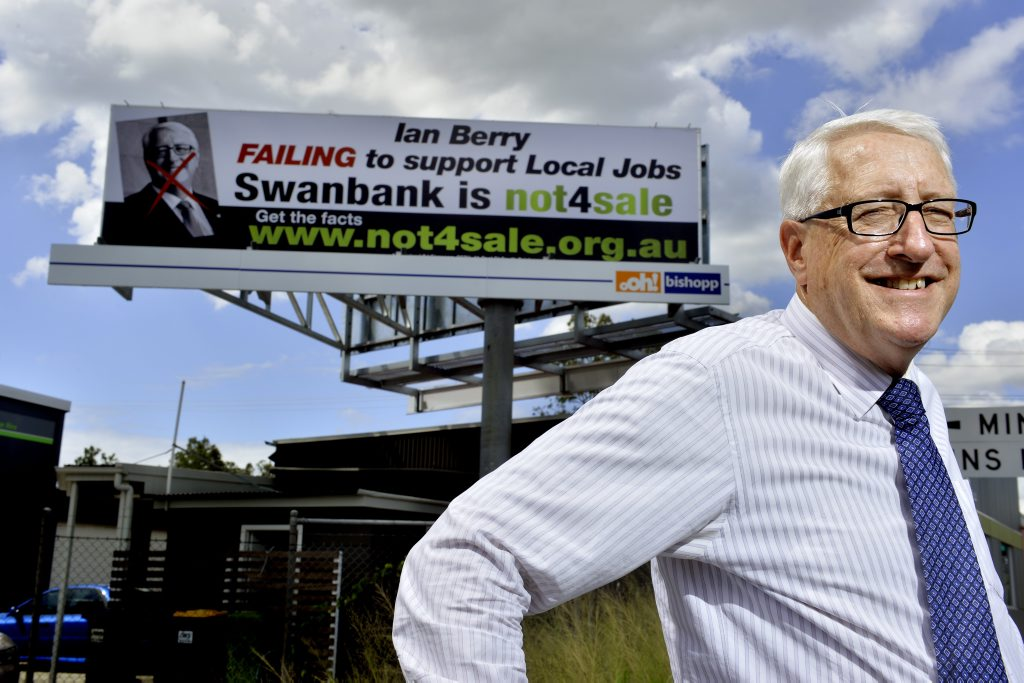 Ipswich MP Ian Berry makes light of a billboard attacking his record.