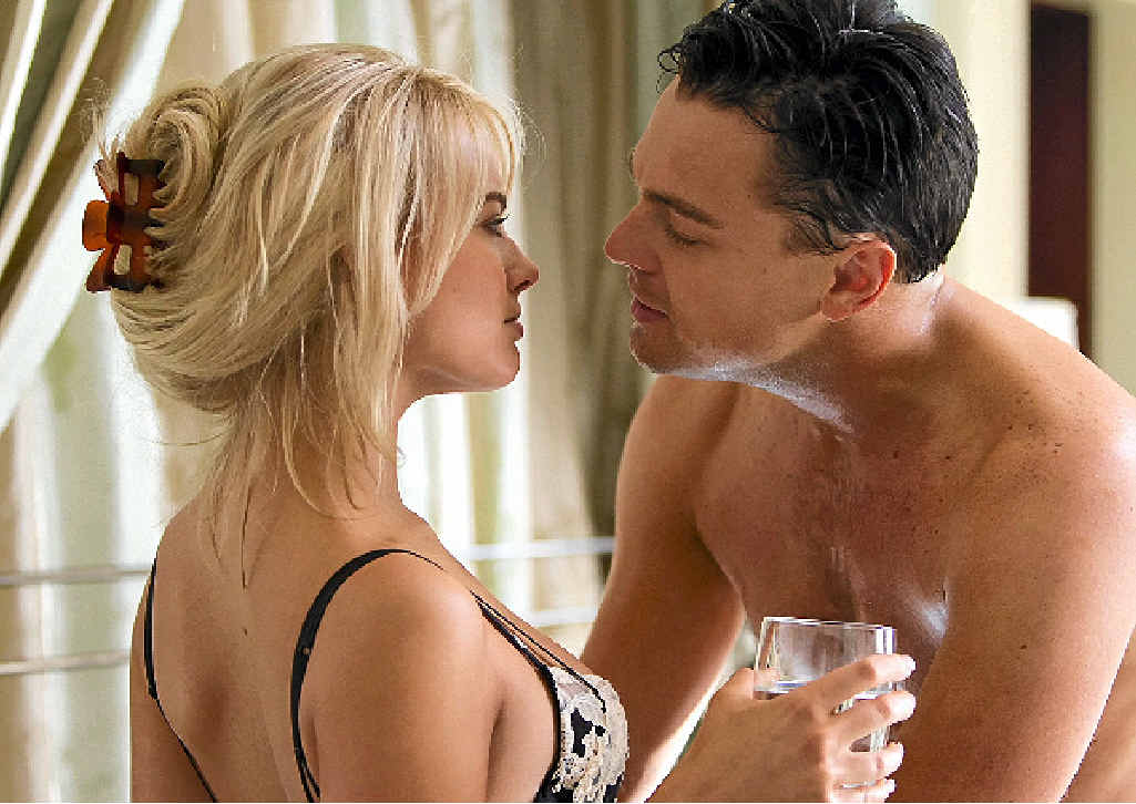 WILL HE WIN?: Leonardo DiCaprio with Aussie actress Margot Robbie in The Wolf of Wall Street.