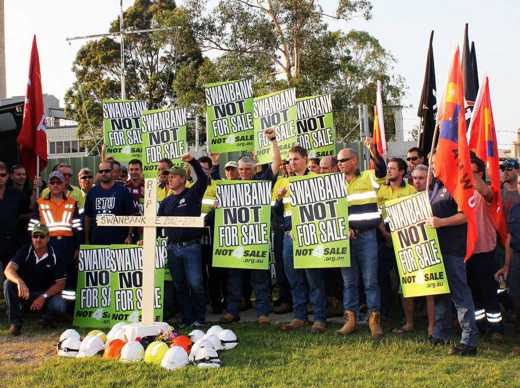 BLEAK FUTURE: ETU members protest against the planned mothballing of Swanbank E gas power station owned by Stanwell Corporation.