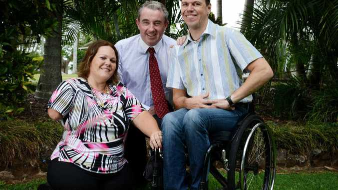 JOB SEARCH: (From left) Paralympian Tracy Barrell OAM, Member for Page and Project Ambassador Kevin Hogan and Thomas Anstoetz from TAFE.
