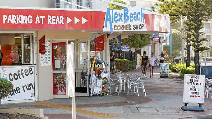 TRADING FEARS: The owner of Alex Beach Corner Shop is among a group of people concerned that there is no adequate parking for patrons along their strip of shops on Alexandra Pde near the corner of Pacific Tce.