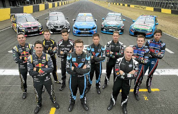 READY FOR ACTION: (from left) Red Bull Racing Australia drivers Craig Lowndes and Jamie Whincup, Norton Hornets driver James Moffat, Jack Daniel's Racing driver Rick Kelly, Valvoline Racing GRM drivers Scott McLaughlin and Robert Dalhgren, Erebus Motorsport drivers Will Davison and Lee Holdsworth and Ford Performance Racing drivers Mark Winterbottom and Chaz Mostert ahead of the new season.
