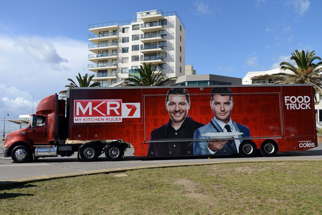 The My Kitchen Rules food truck pictured at Cronulla Beach.