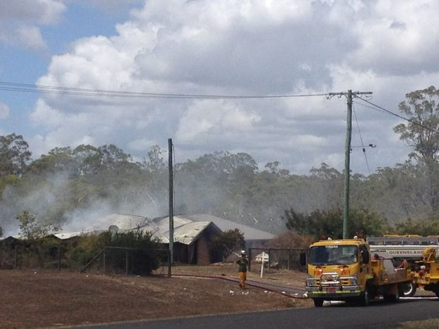 Fire crews attend a blaze at a Maryborough home on Sunday morning.
