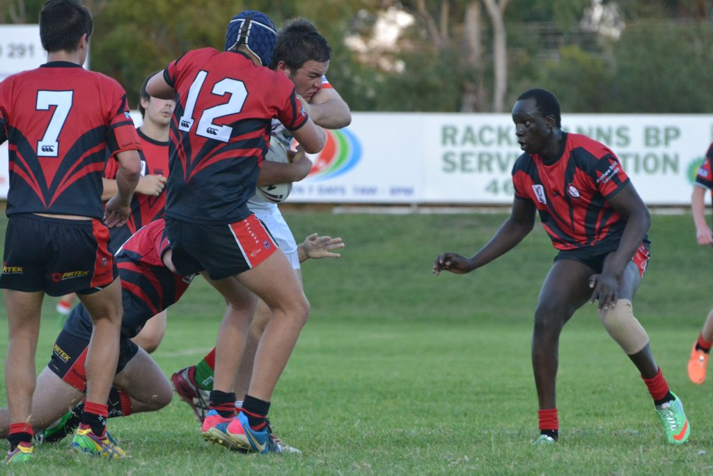 Image for sale: Under-18s Bulldog Nathan Kahn is unstoppable against a Toowoomba Valleys defensive pack. Photo Emma Heron / Chinchilla News