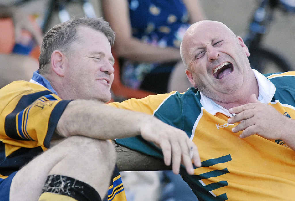 Byron Bay players Ryan McGuicken (left) and Roger Trimmer share a laugh as they relax between games.
