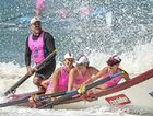 SECOND IN THE STANDINGS: Sweep Andre Trevor guides the Noosa open women's crew to victory at Mooloolaba yesterday.