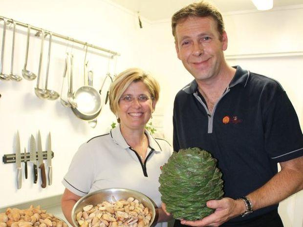 The Bunyas chef Rhys van der Hyde and owner Eleanor Kratzmann make the most of their Bunya Nut crop at the Bunya Mountains.