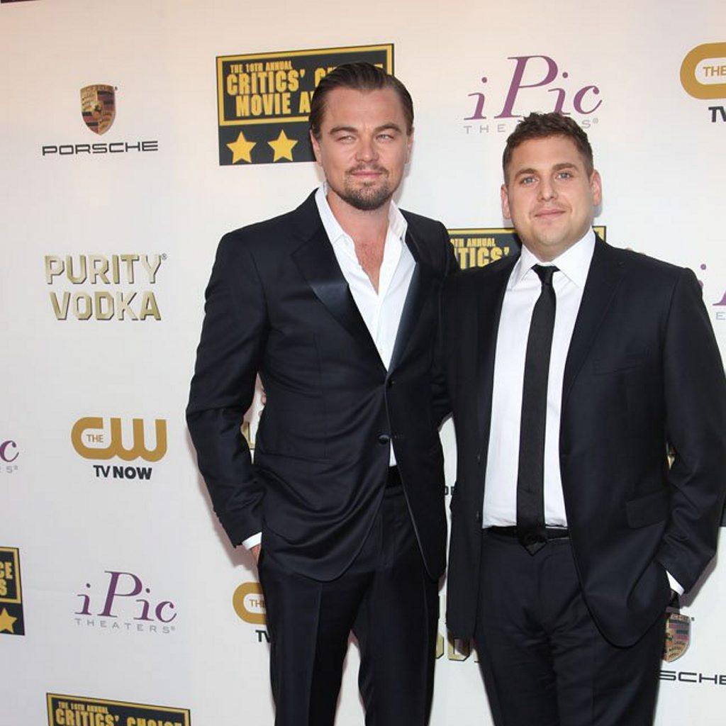 Leonardo DiCaprio with Jonah Hill.