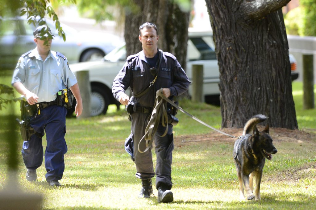 Multiple police units including the dog squad have been used in the search for ACMENA detainees who escaped custody on Sunday afternoon. Photo Adam Hourigan
