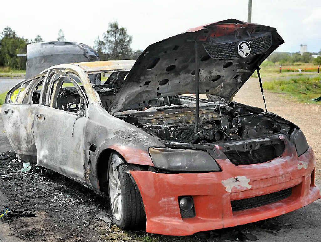 VEHICLE WRECKED: A Commodore sedan caught fire overnight on Alf O'Rourke Dr, Gladstone.