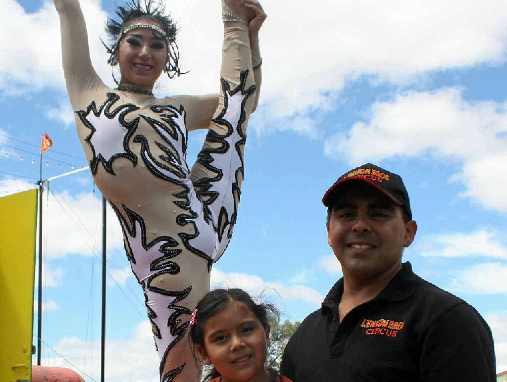 FAMILY FUN: Circus Performers Keira and Valentino with their daughter Keira.