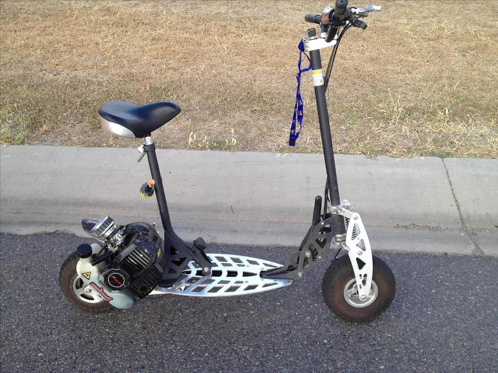These petrol-powered scooters are illegal in Queensland unless they meet design standards and are registered as motorbikes.