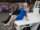 Oliver Briffa and Kate Taylor arrive on the back of a ute at St Joseph's College Inauguration ball at Rumours International, Saturday, March 01, 2014. Photo Kevin Farmer / The Chronicle