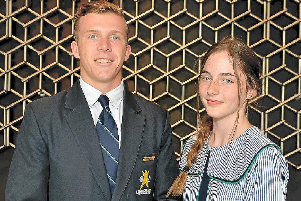 PROUD AUSTRALIANS: Sons of Anzac essay winners Tim Sullivan and Jaimee Searle.