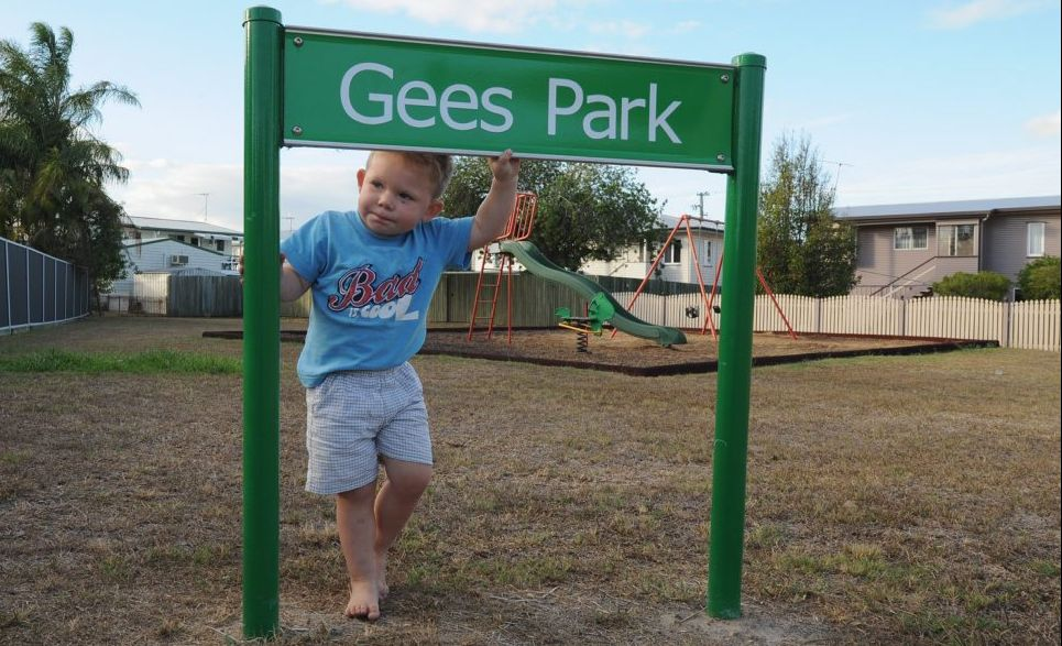 Zayden Manitzky plays regularly in Gees Park down the road from his home.