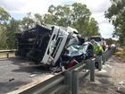 The truck involved in a crash on the Bruce Highway between Ambrose and Raglan, north-west of Gladstone.